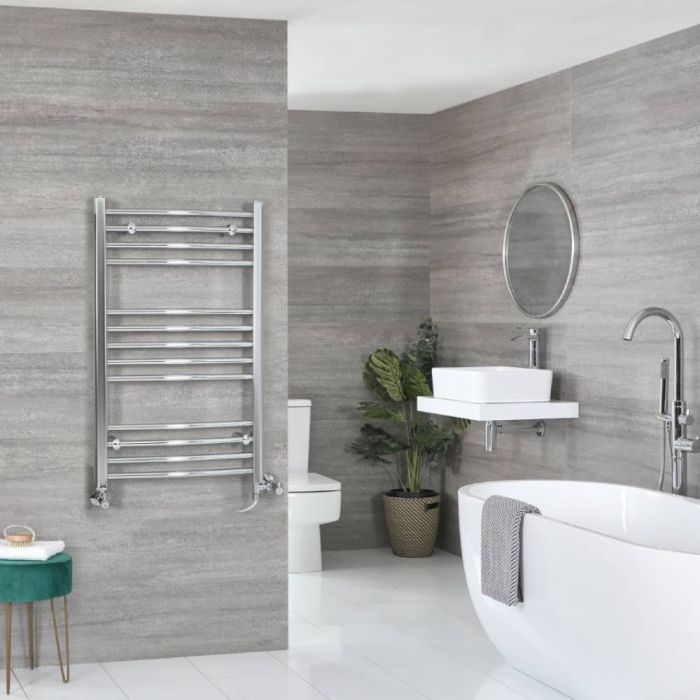 Milano Kent - Chrome Dual Fuel Curved Heated Towel Rail 1000mm x 600mm