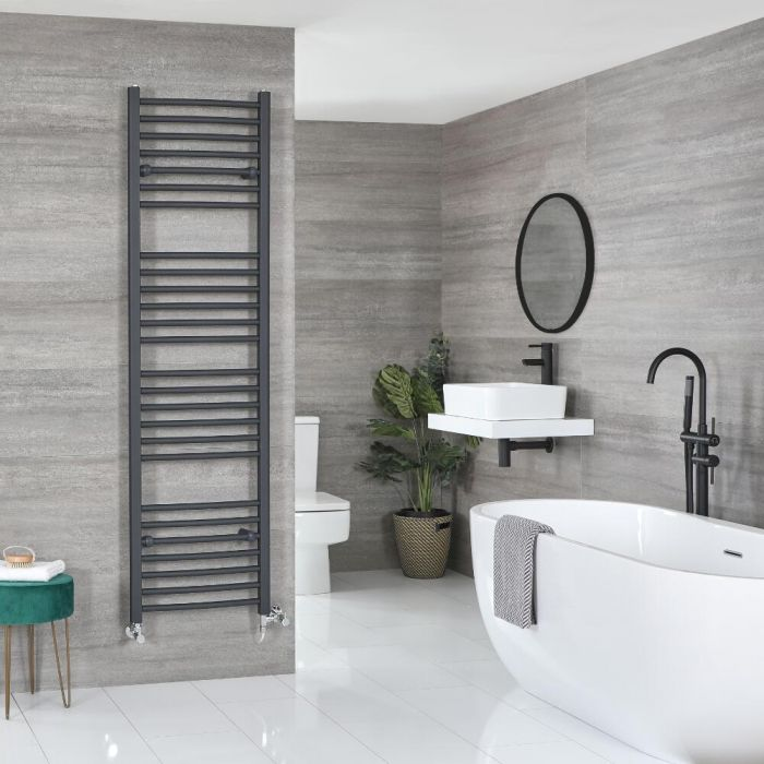Milano Artle Dual Fuel - Curved Anthracite Heated Towel Rail - Various Sizes