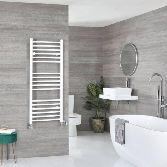 Milano Ive Dual Fuel - Curved White Heated Towel Rail - Various Sizes