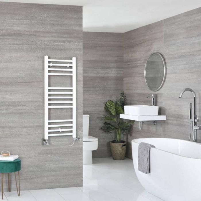 Milano Ive - White Dual Fuel Flat Heated Towel Rail 1000mm x 400mm