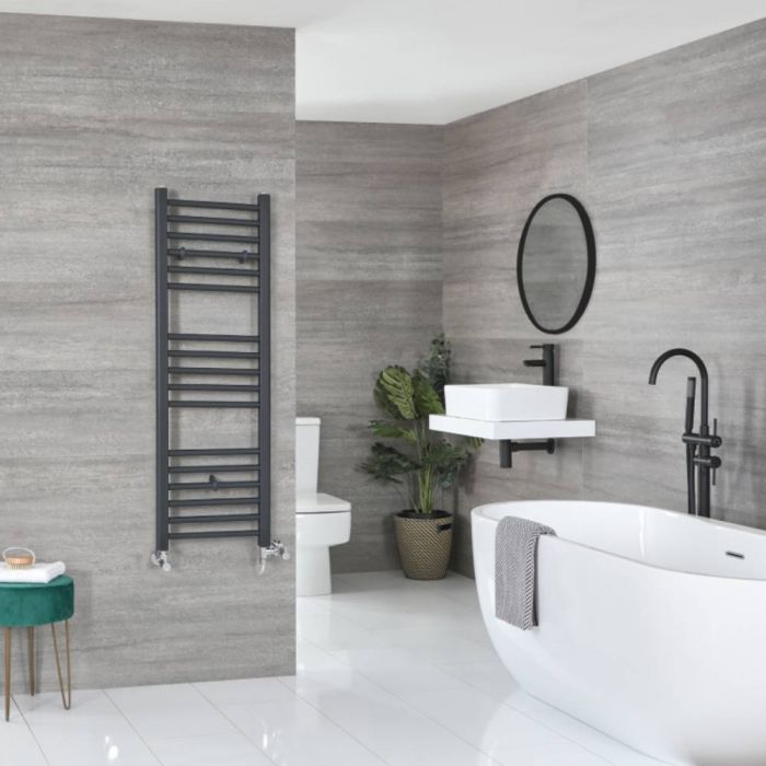 Milano Artle - Anthracite Dual Fuel Flat Heated Towel Rail 1200mm x 400mm