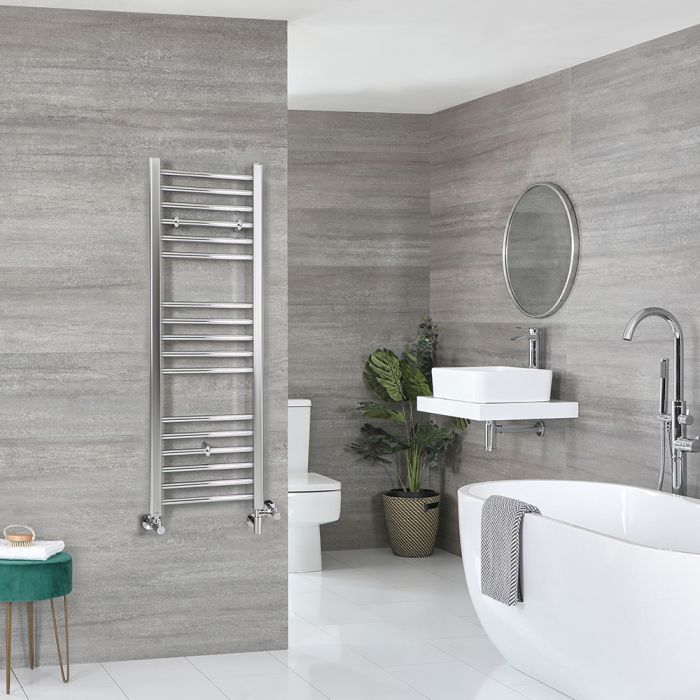 Milano Kent - Chrome Dual Fuel Flat Heated Towel Rail 1200mm x 400mm
