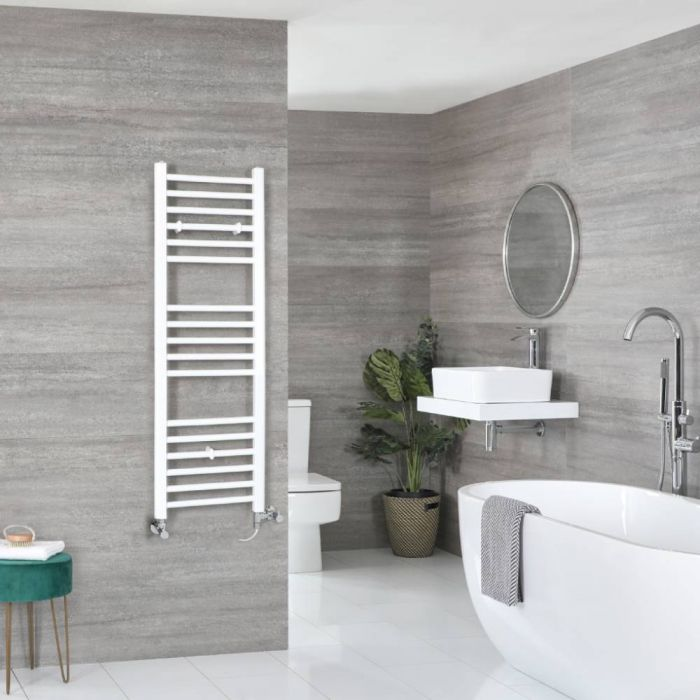 Milano Ive - White Dual Fuel Flat Heated Towel Rail 1200mm x 400mm