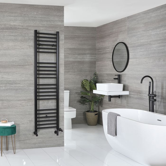 Milano Nero - Matt Black Dual Fuel Flat Heated Towel Rail 1600mm x 400mm