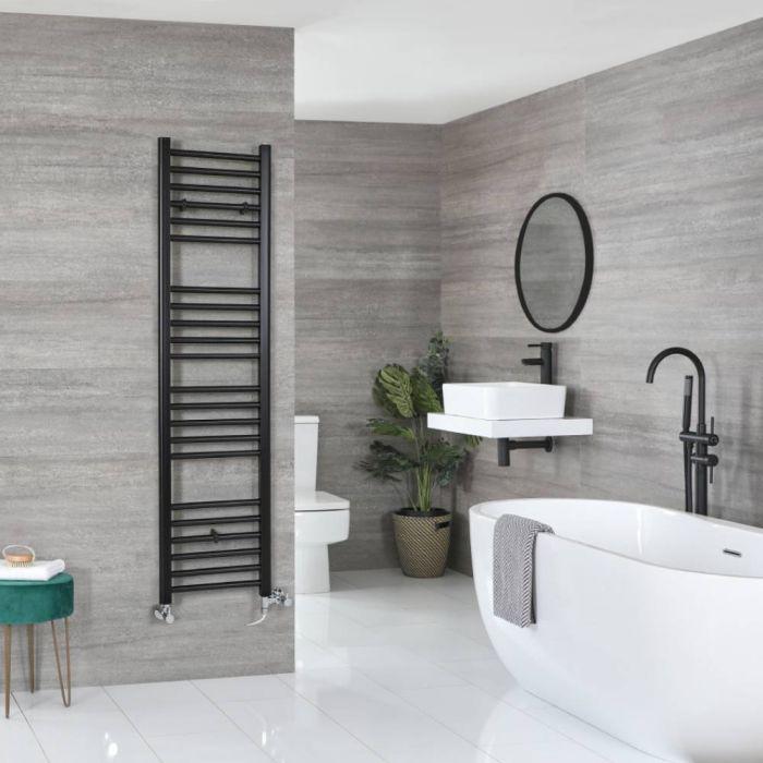 Milano Nero - Matt Black Dual Fuel Flat Heated Towel Rail 1600mm x 400mm