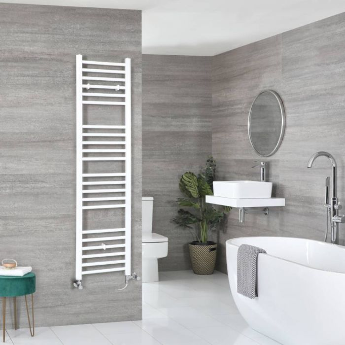 Milano Ive - White Dual Fuel Flat Heated Towel Rail 1600mm x 400mm