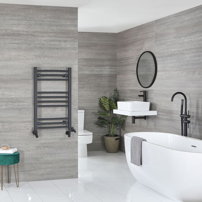 Milano Artle - Anthracite Dual Fuel Flat Heated Towel Rail 800mm x 500mm