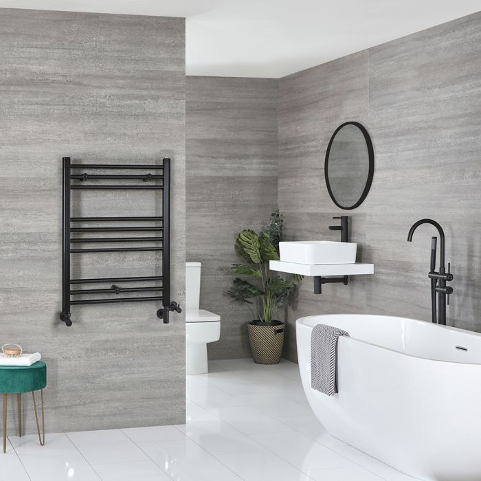 Milano Nero - Matt Black Dual Fuel Flat Heated Towel Rail 800mm x 500mm