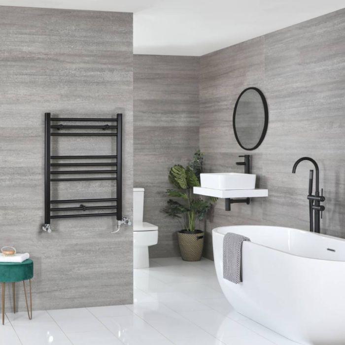Milano Nero - Matt Black Dual Fuel Flat Heated Towel Rail 800mm x 500mm