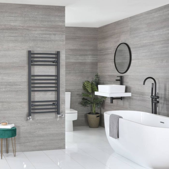Milano Artle - Anthracite Dual Fuel Flat Heated Towel Rail 1000mm x 500mm