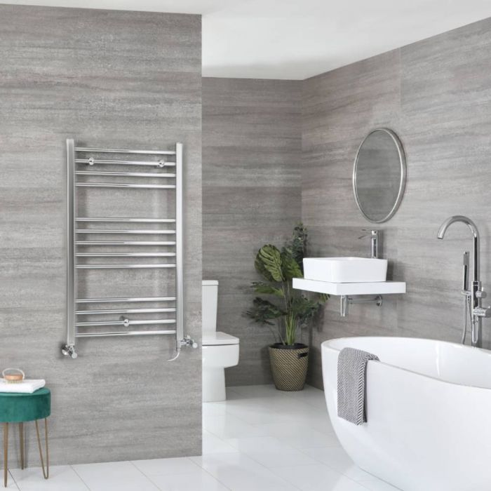 Milano Kent - Chrome Dual Fuel Flat Heated Towel Rail 1000mm x 500mm