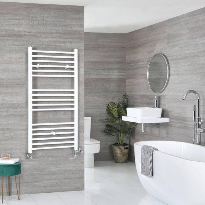 Milano Ive - White Dual Fuel Flat Heated Towel Rail 1200mm x 500mm