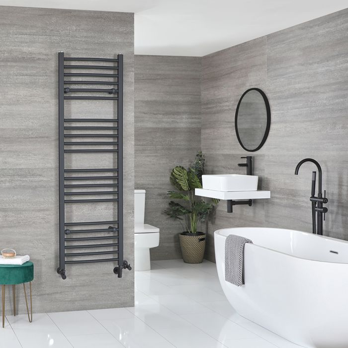 Milano Artle - Anthracite Dual Fuel Flat Heated Towel Rail 1600mm x 500mm