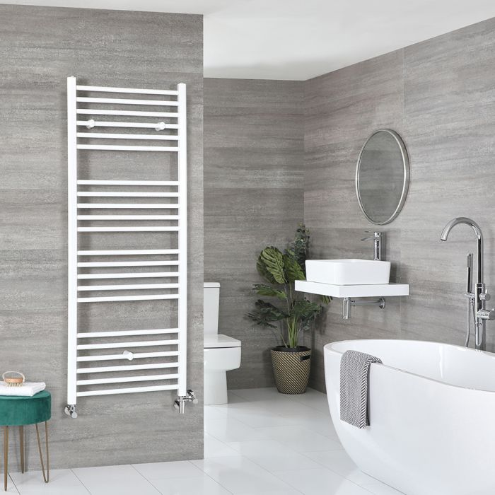 Milano Ive - White Dual Fuel Flat Heated Towel Rail 1600mm x 500mm