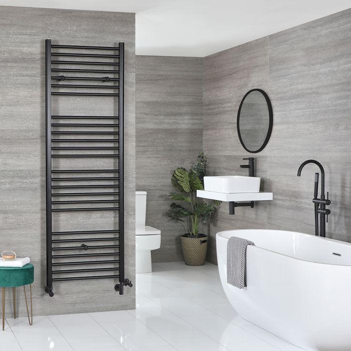 Milano Nero - Matt Black Dual Fuel Flat Heated Towel Rail 1800mm x 500mm