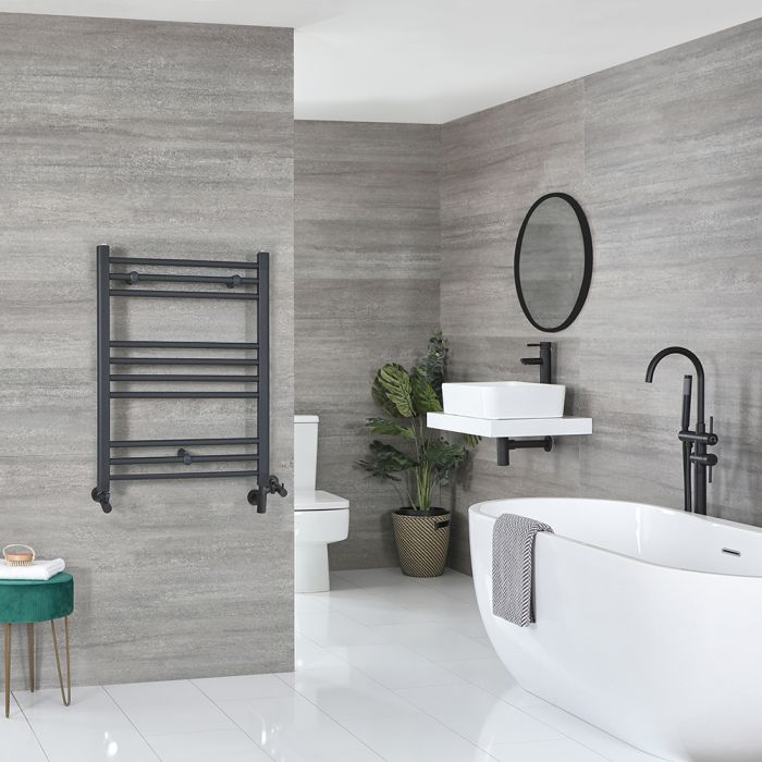Milano Artle - Anthracite Dual Fuel Flat Heated Towel Rail 800mm x 600mm