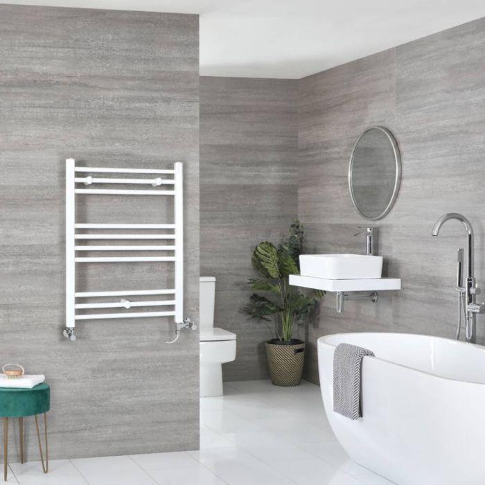 Milano Ive - White Dual Fuel Flat Heated Towel Rail 800mm x 600mm