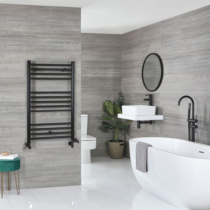 Milano Nero - Matt Black Dual Fuel Flat Heated Towel Rail 1000mm x 600mm