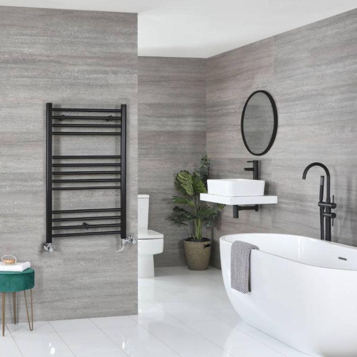 Milano Nero - Matt Black Dual Fuel Flat Heated Towel Rail 1000mm x 600mm