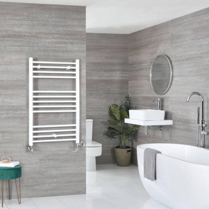 Milano Ive - White Dual Fuel Flat Heated Towel Rail 1000mm x 600mm