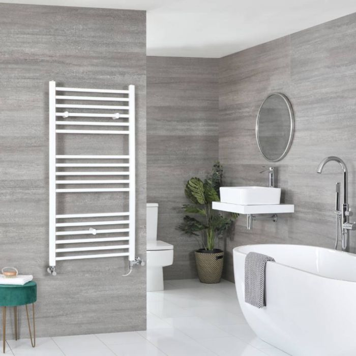 Milano Ive - White Dual Fuel Flat Heated Towel Rail 1200mm x 600mm