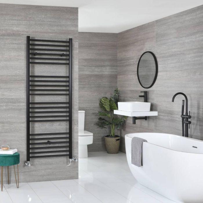 Milano Nero - Matt Black Dual Fuel Flat Heated Towel Rail 1600mm x 600mm