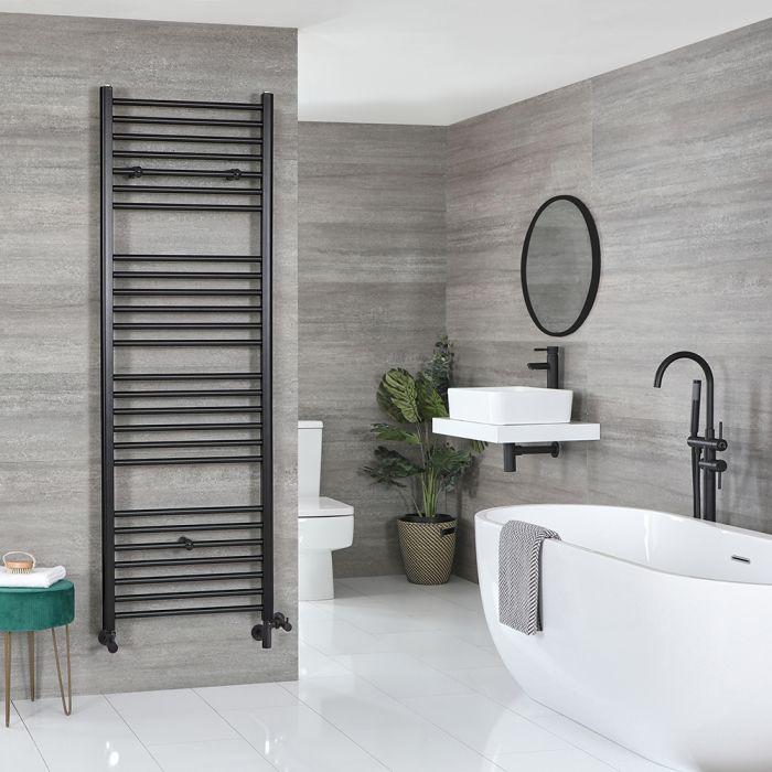 Milano Nero - Matt Black Dual Fuel Flat Heated Towel Rail 1800mm x 600mm