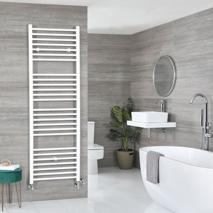 Milano Ive - White Dual Fuel Flat Heated Towel Rail 1800mm x 600mm