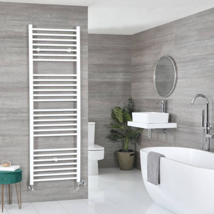 Milano Ive - White Dual Fuel Flat Heated Towel Rail 1800mm x 600mm