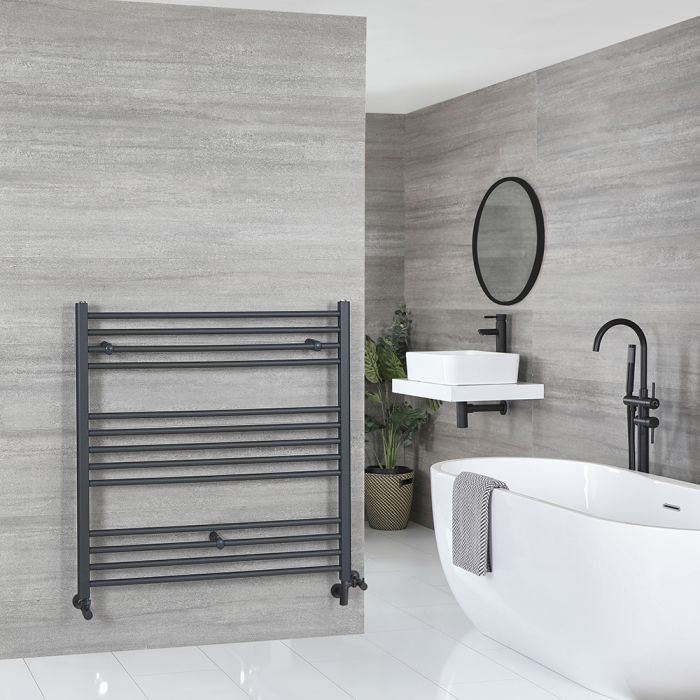 Milano Artle - Anthracite Dual Fuel Flat Heated Towel Rail 1000mm x 1000mm