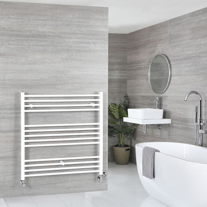 Milano Ive - White Dual Fuel Flat Heated Towel Rail 1000mm x 1000mm