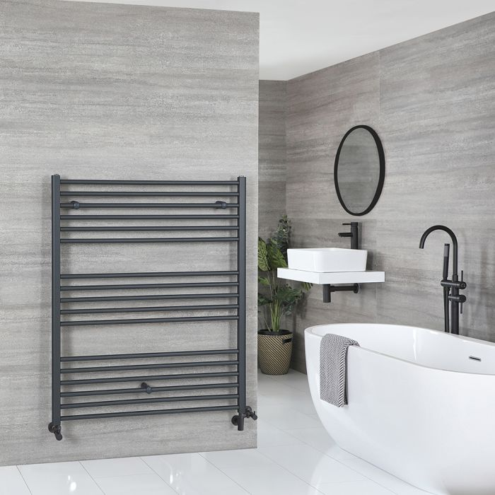 Milano Artle - Anthracite Dual Fuel Flat Heated Towel Rail 1200mm x 1000mm
