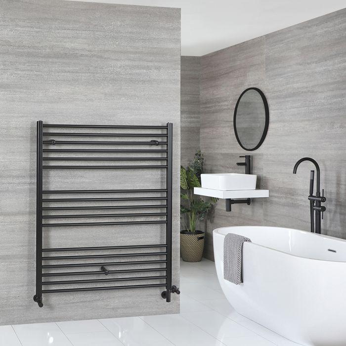 Milano Nero - Matt Black Dual Fuel Flat Heated Towel Rail 1200mm x 1000mm