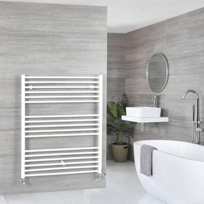 Milano Ive - White Dual Fuel Flat Heated Towel Rail 1200mm x 1000mm