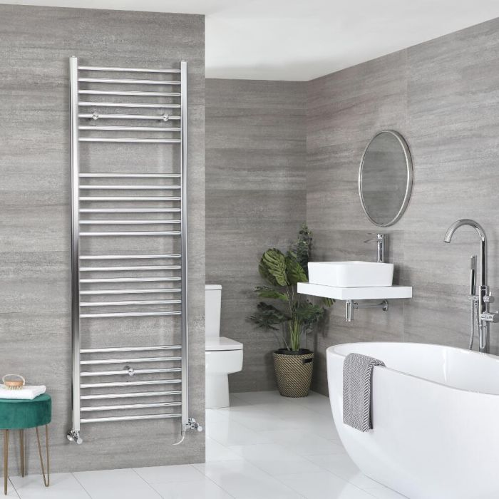 Milano Kent Dual Fuel - Flat Chrome Heated Towel Rail - Various Sizes