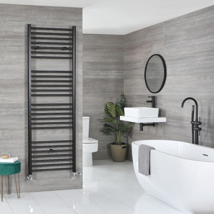 Milano Nero Dual Fuel - Flat Black Heated Towel Rail - Various Sizes