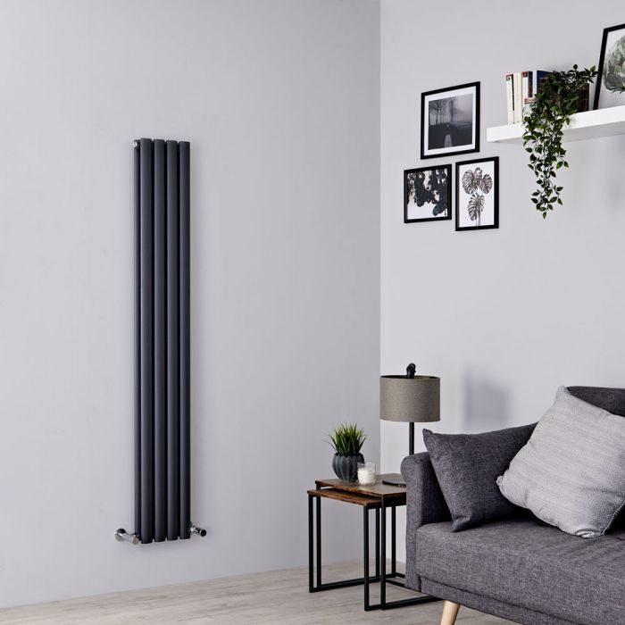 Milano Aruba Slim - Anthracite Space-Saving Vertical Designer Radiator 1600mm x 236mm (Double Panel)