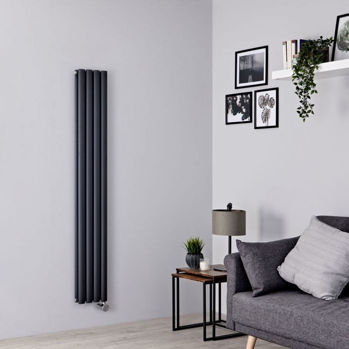 Milano Aruba Slim Electric - Anthracite Space-Saving Vertical Designer Radiator 1600mm x 236mm (Double Panel)