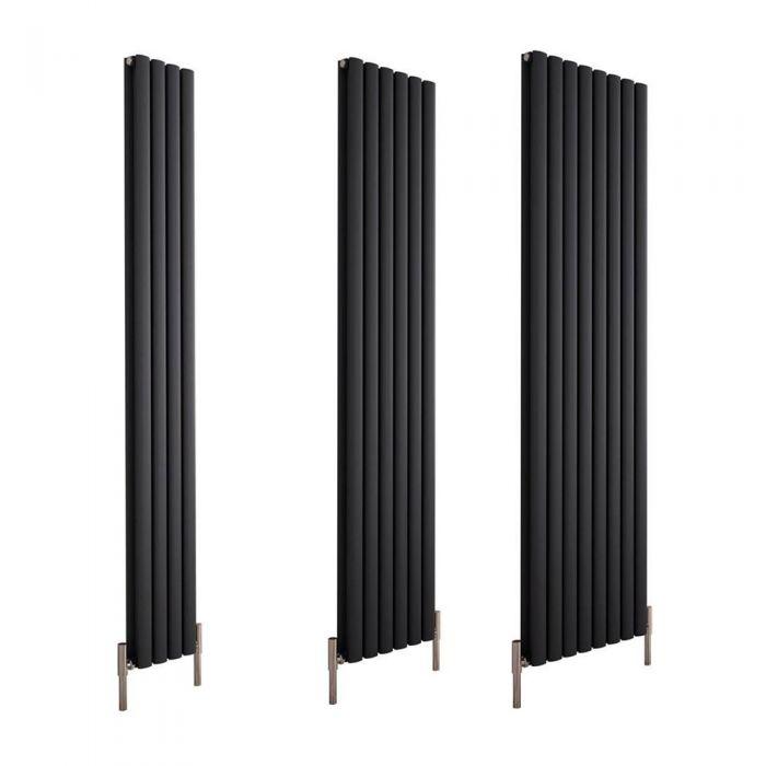 Milano Aruba Ayre - 1800mm Anthracite Vertical Aluminium Designer Radiator - Various Sizes