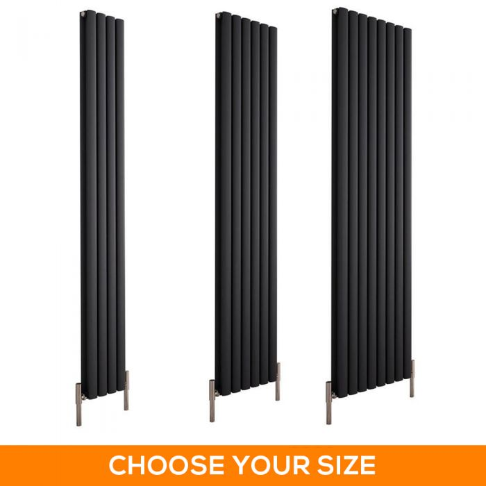 Milano Aruba Ayre - 1800mm Anthracite Vertical Aluminium Designer Radiator - Various Sizes
