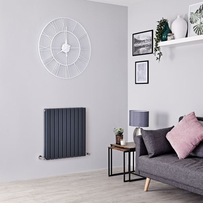 Milano Capri - Anthracite Horizontal Flat Panel Designer Radiator 635mm x 600mm (Double Panel)