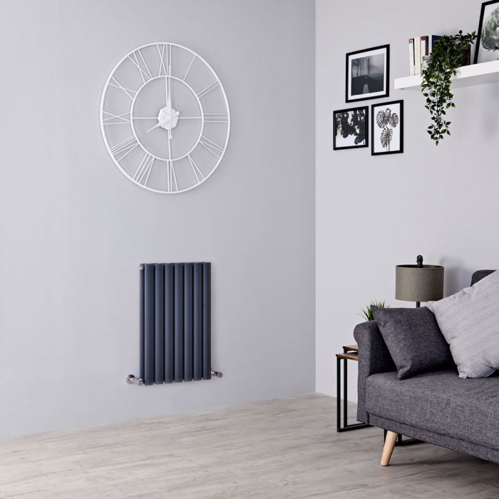 Milano Aruba - Anthracite Horizontal Designer Radiator 635mm x 413mm (Double Panel)