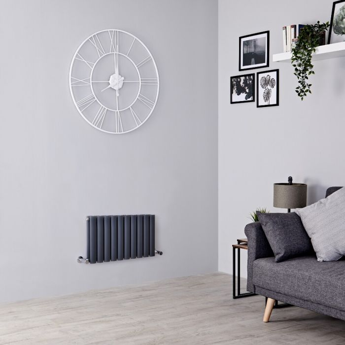 Milano Aruba - Anthracite Horizontal Designer Radiator 400mm x 595mm (Double Panel)