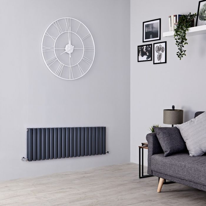 Milano Aruba - Anthracite Horizontal Designer Radiator 400mm x 1180mm (Double  Panel)