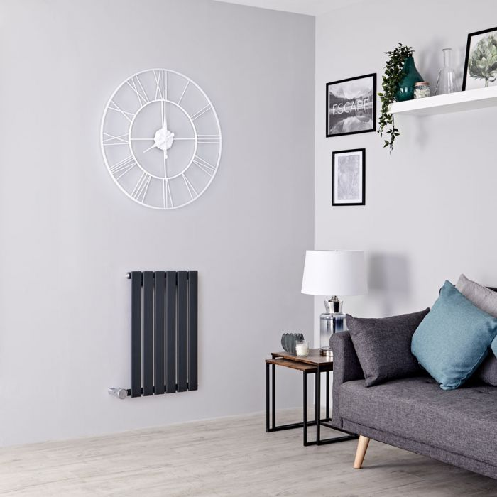Milano Alpha Electric - Anthracite Horizontal Single Slim Panel Designer Radiator 635mm x 420mm