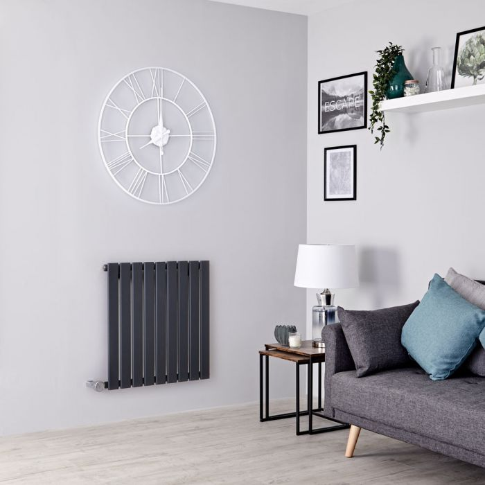 Milano Alpha Electric - Anthracite Horizontal Single Slim Panel Designer Radiator 635mm x 630mm
