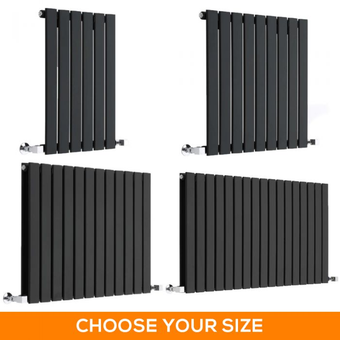 Milano Alpha - Black Horizontal Designer Radiator - 635mm Tall - Choice Of Width