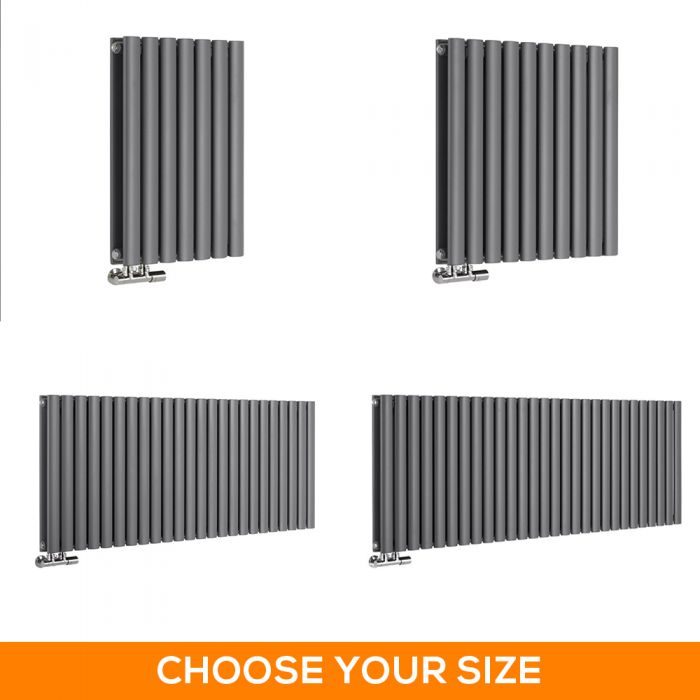 Milano Aruba Flow - 635mm Anthracite Horizontal Middle Connection Designer Radiator - Various Sizes