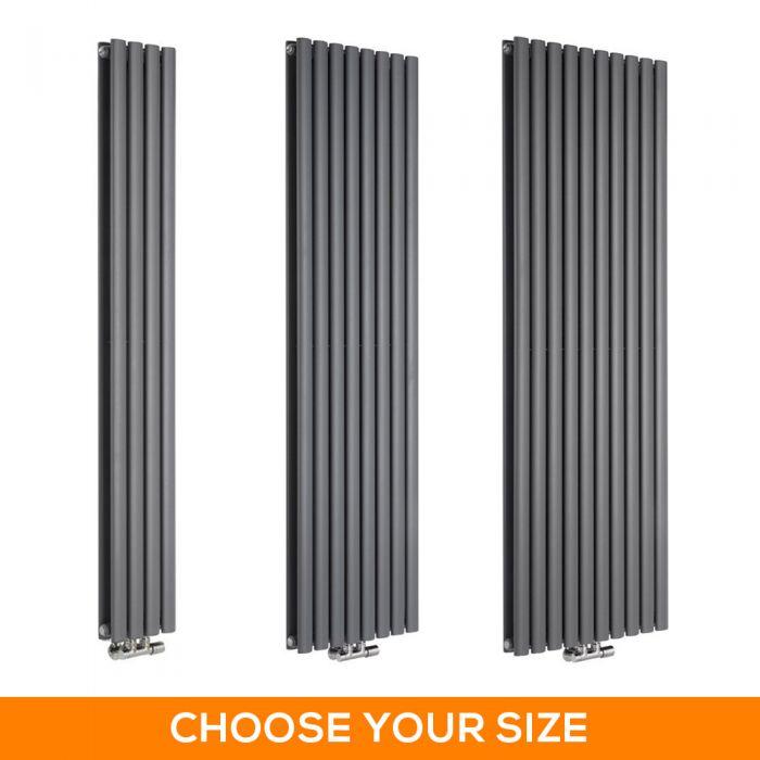 Milano Aruba Flow - Anthracite Vertical Middle Connection Designer Radiator - Various Sizes