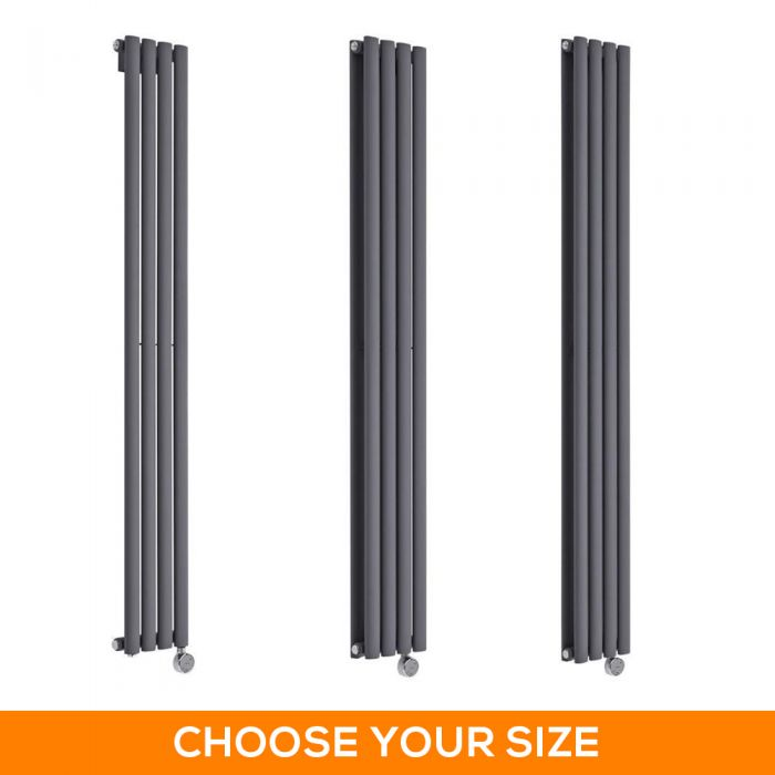 Milano Aruba Electric - 236mm Anthracite Vertical Designer Radiator - Various Sizes